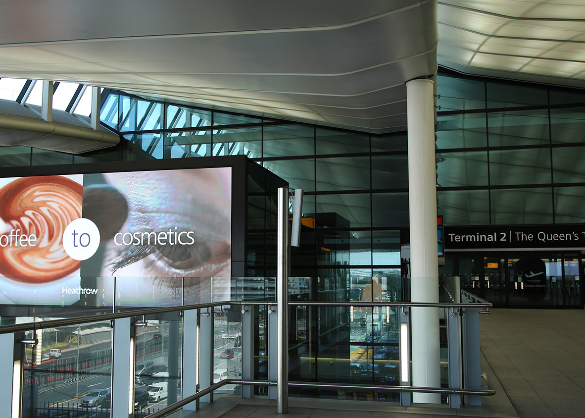 Smart tech advertising screens designed and installed at Terminal 2 Heathrow Airport by Ajar Technology