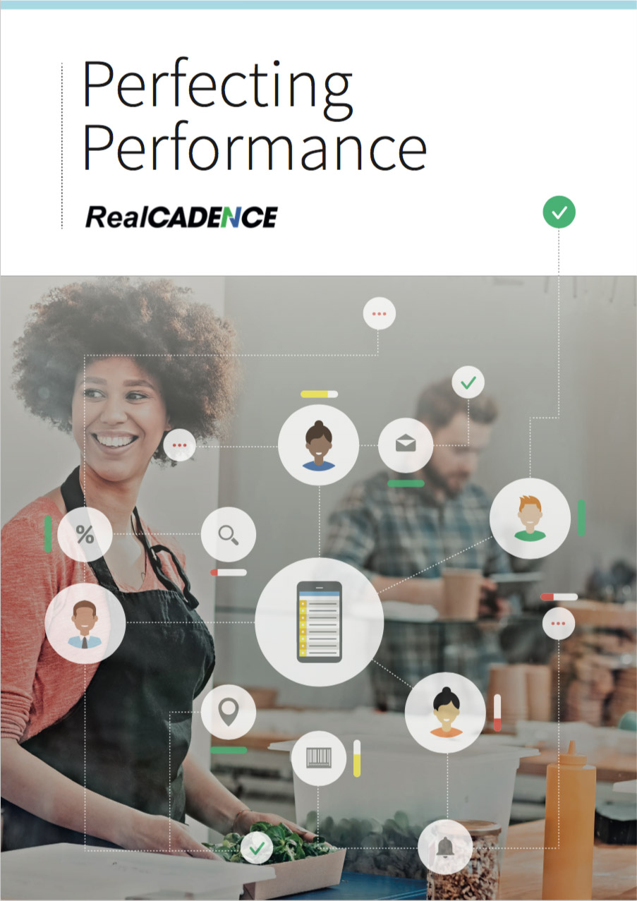 Front cover of RealCadence Brochure, cutting edge, multi-site operations software platform